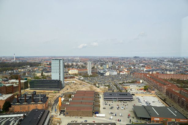 Great view from 10th floor of 'Bohrs Tårn' - the key element of the new district 'Carlsberg Byen' in Copenhagen.