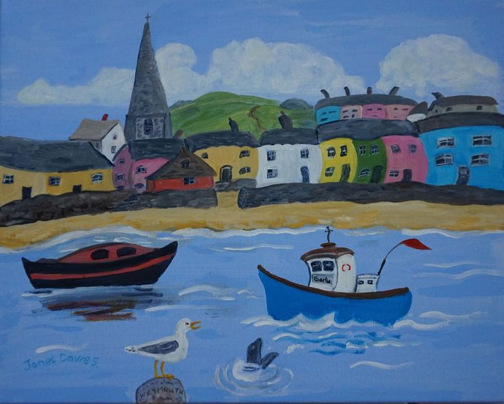 Original painting by Janet Davies. Popular Berty Boat at Weymouth. Colourful houses in blue orange pink and white, a church, another boat, a gull and a sea lion, canvas wall art. modern, quirky,contemporary style.Hand painted and signed by artist. | eBay!