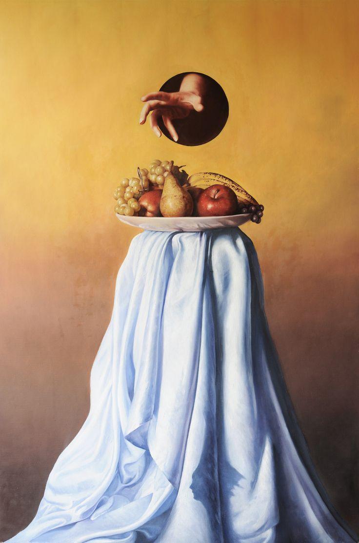 """Andrea Esposito, """"Fa che il cibo sia la tua medicina e che la medicina il tuo cibo"""", olio su tela, 120x80cm, 2015"""