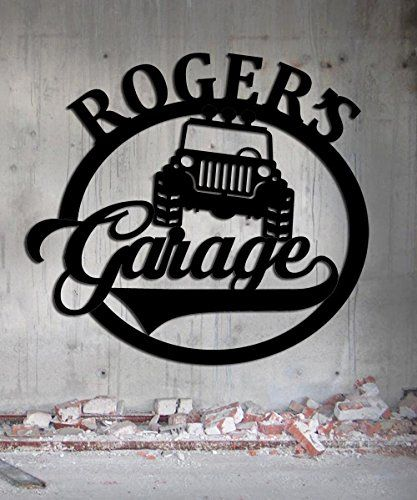 Jeep Garage – Personalized Sign – Metal Wall Art- Customize It!- Metal Wall Art Man Cave Grandpa's Dad's Or Custom Name – AVANI FACTORY