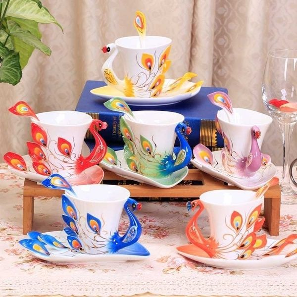 Creative 3d Hand Crafted Porcelain Enamel Peacock Coffee Cup Set With Saucer And Spoon Present Ceramic Tea Water Cup Peacock Coffee Porcelain Mugs Ceramic Cups