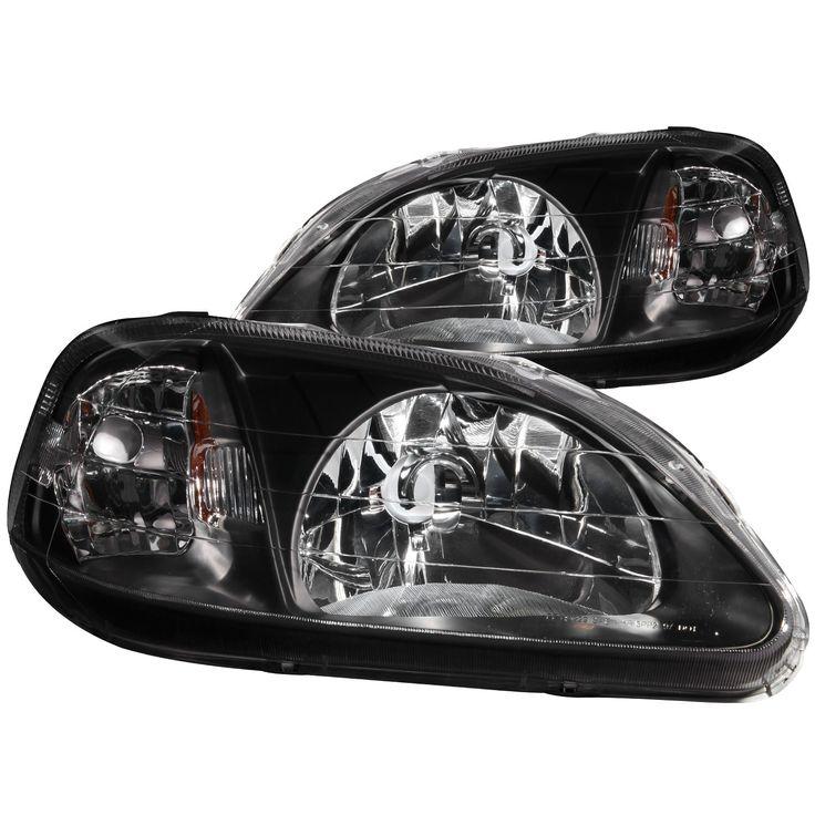 ANZO Crystal Headlights Black 1999-2000 Honda Civic (Set of 2)