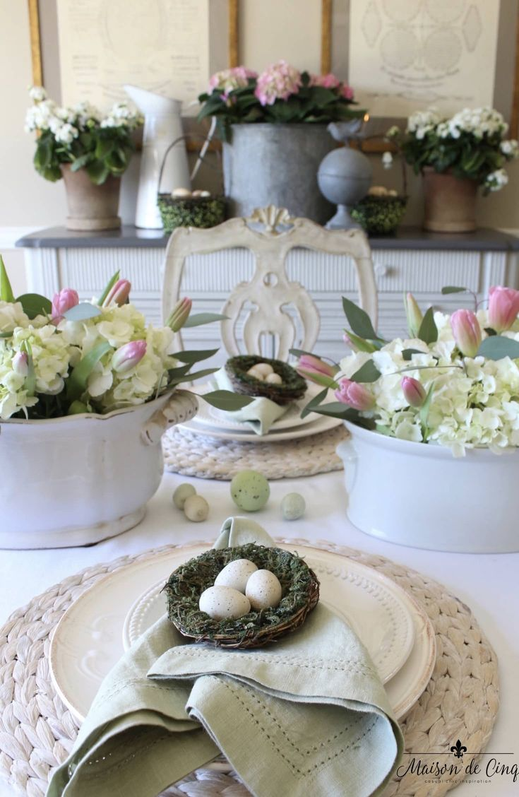 Garden Party Easter Tablescape with Pink Tulips & Natural