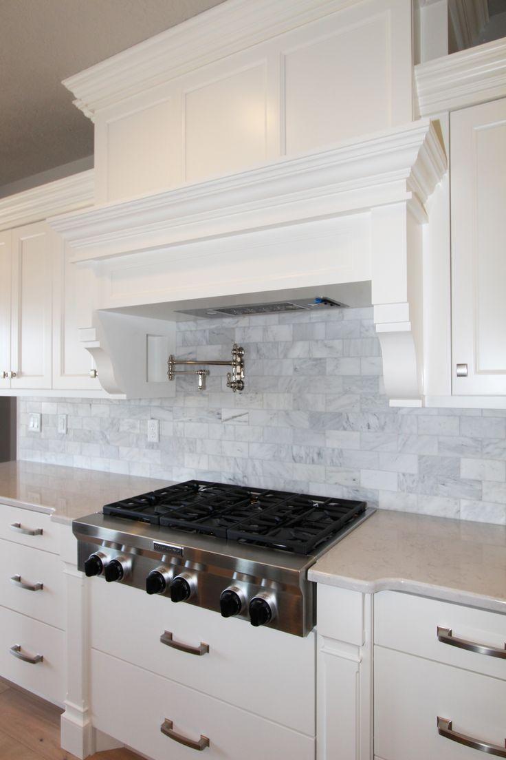 Pepperdign Homes, Custom Homes Utah, Craftsman Homes, Craftsman Kitchen, Craftsman Range Hood, Pot filler, Marble Backsplash