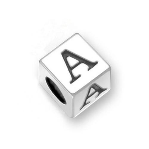 925 Sterling Silver Block Letter A Pandora Troll Chamilia Bead Compatible
