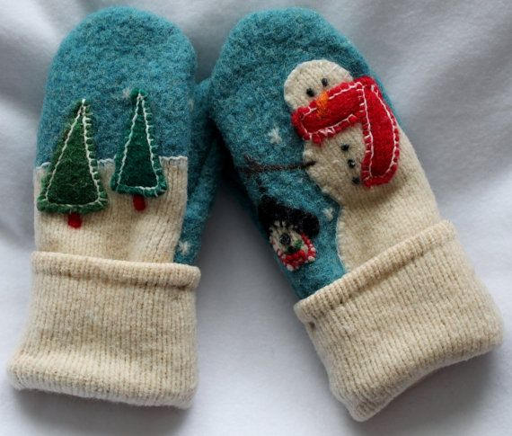 Adult Mittens Blue with Snowman by ZenFrogCreations on Etsy, $45.00