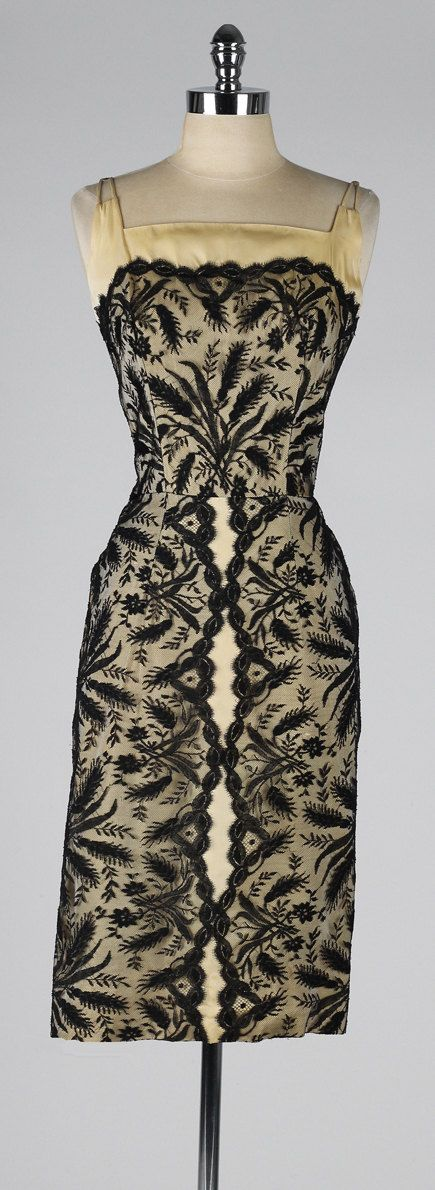 vintage 1950s dress . gold and black lace . by millstreetvintage