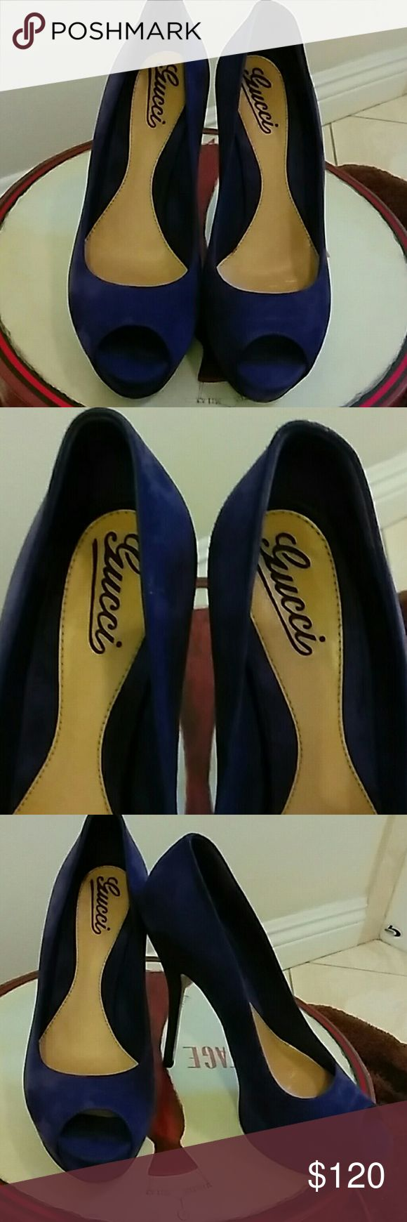 """GUCCI SUEDE PURPLE PEEP TOE HEELS VTG SIZE 8 GOOD USED CONDITION PURPLE SIZE 8 ITALY  HEELS 5"""" INSIDE BACK HEEL A LITTLE STICKY I TOOK OUT SHOE CARD VERY MINOR SOLES GOOD AND OUTSIDE GOOD NO STAINS OR SCRAPES EXCELLENT VINTAGE HEELS GREAT PRICE. Gucci Shoes Heels"""