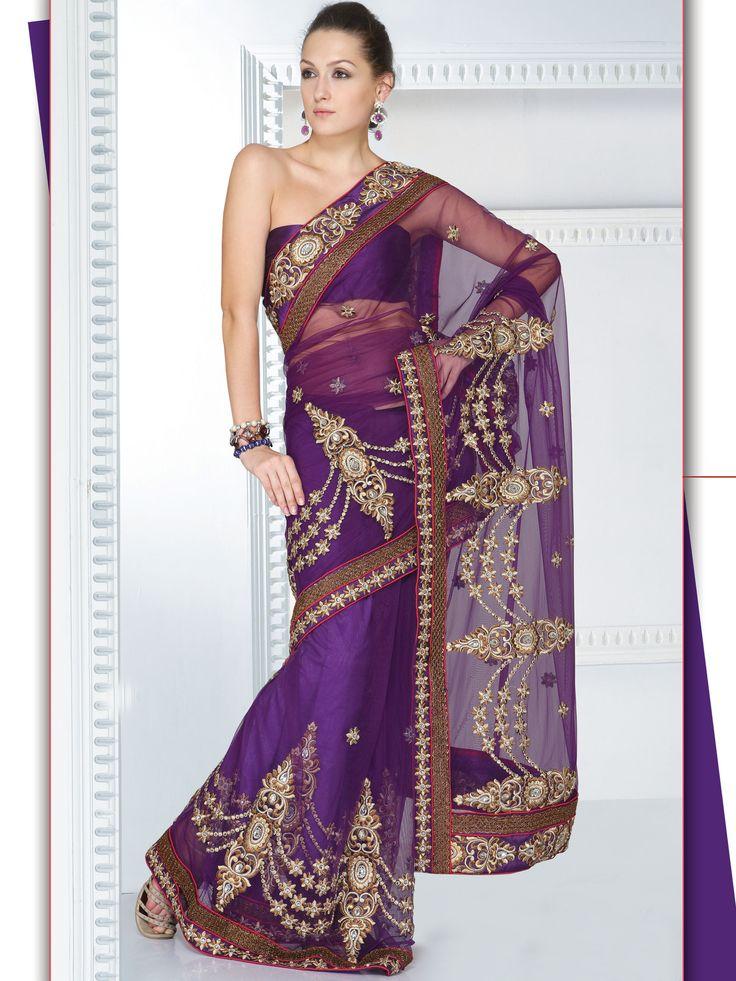 Violet Net Saree, Cocktail Sarees, Embroidered Saree | $120.47