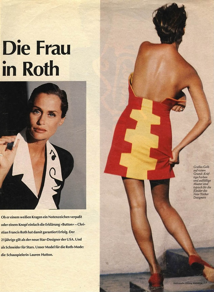 Lauren Hutton in Christian Francis Roth - 1990