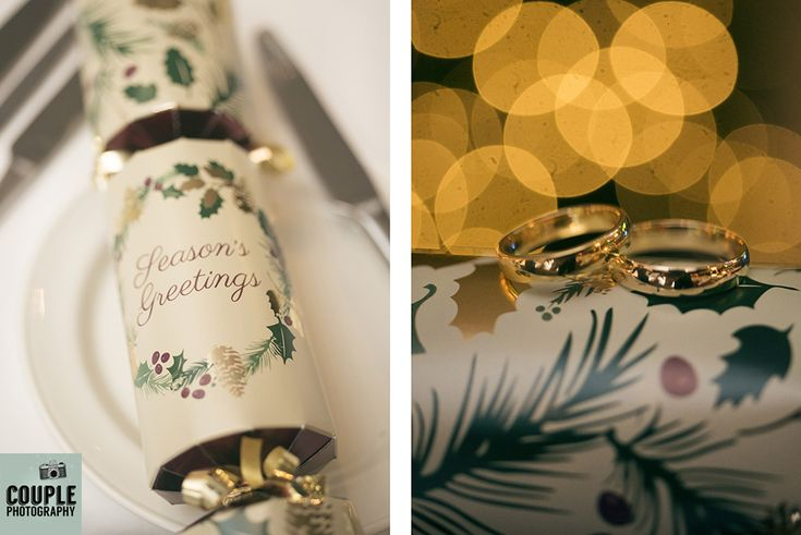 Gorgeous Christmas details and the wedding rings. Weddings at The Westgrove Hotel by Couple Photography.