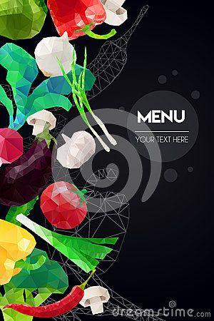 Абстрактный полигональный шаблон меню Геометрический дизайн треугольника Красочная иллюстрация овощей вектора