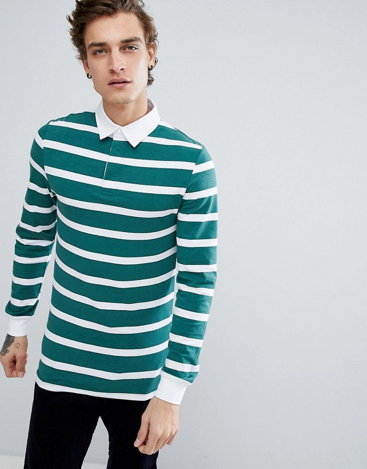 ASOS Muscle Long Sleeve Stripe Rugby Polo - Green