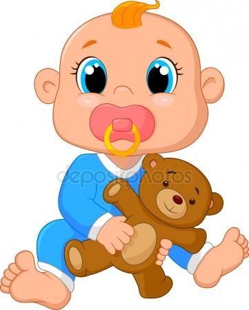 Baixar - Desenhos animados de bebê segurando um ursinho de pelúcia — Ilustração de Stock #72456255