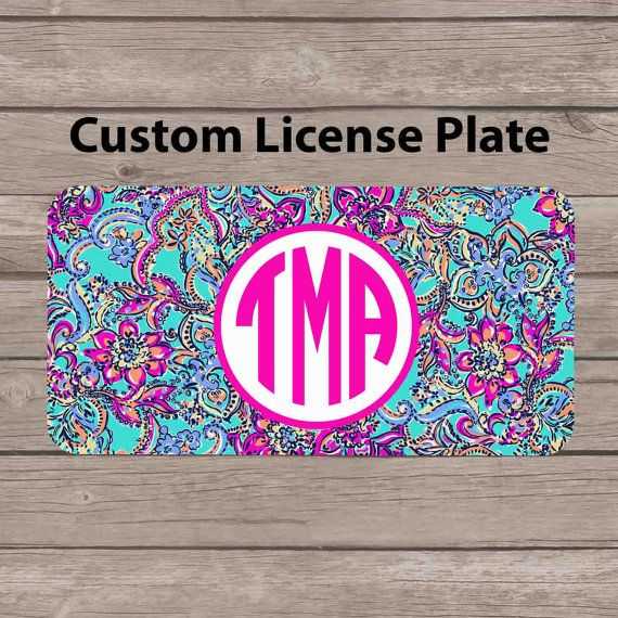 Custom Monogram License Plate Lilly Pulitzer Inspired by subcases, $13.99