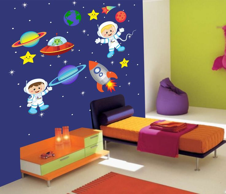 Outer Space Children Wall Decal - 605 - Astronaut Wall Decal - Nursery Wall Decal - Outer Space Theme with astronauts, rocket and planets.