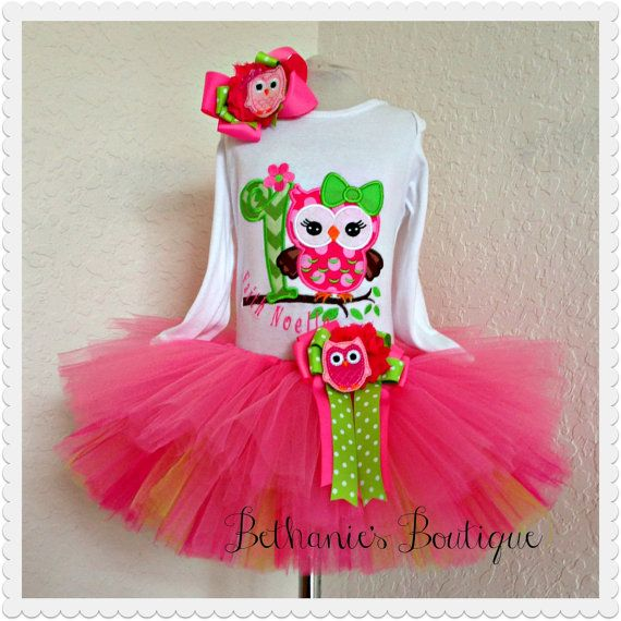Girl Owl Birthday tutu set Pink and green by BethaniesBowtique