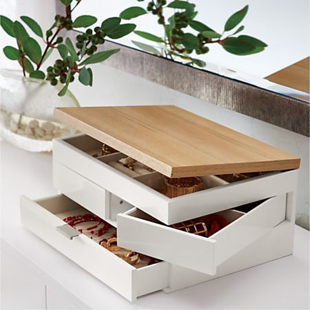 Selma White Jewelry Box + Reviews   Crate and Barrel in ...