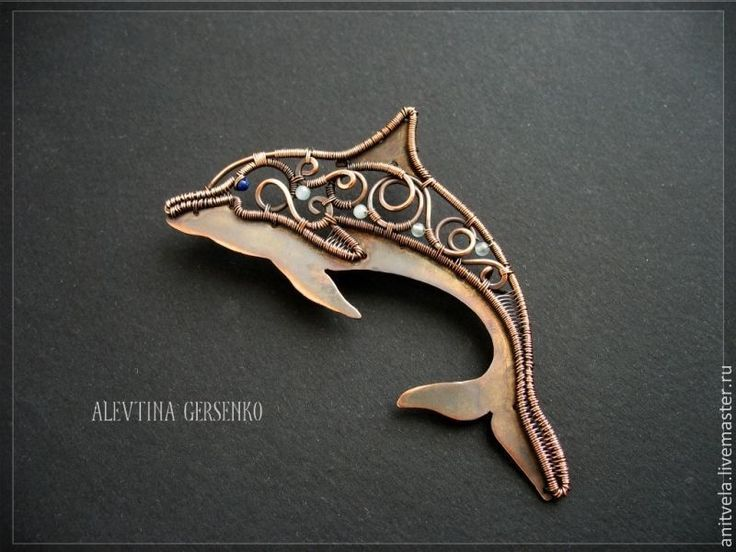 """Купить Брошь """"Дельфин"""" - украшения ручной работы, украшения из проволоки, брошь, дельфин, рыба, медь"""