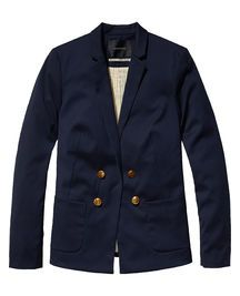 Sail into summer with style wearing this twill sailor blazer. The double-breasted closure, tailored fit and contrasting inner lining make this nautical piece a true season must-have. Wear with bright summer chino shorts during warm spring days or complete the look with a printed skinny.