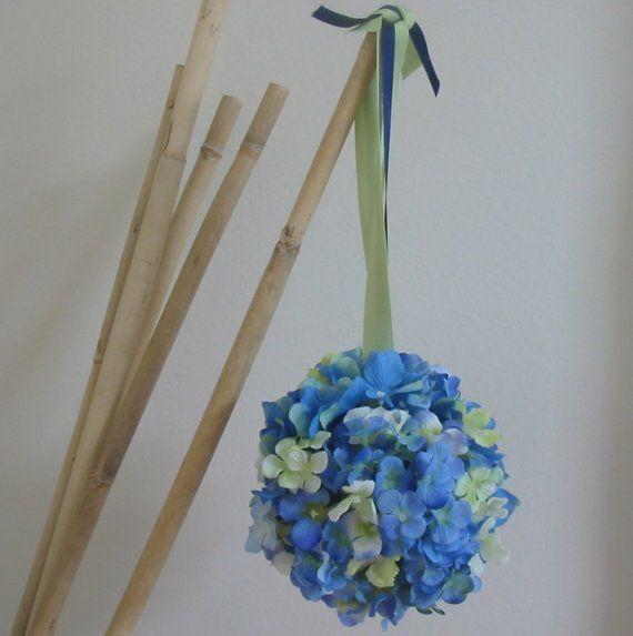 Wedding Pomander Flower Ball/Bouquet for Flowergirl or Wedding Decor-BLUE/GREEN Hydrangeas