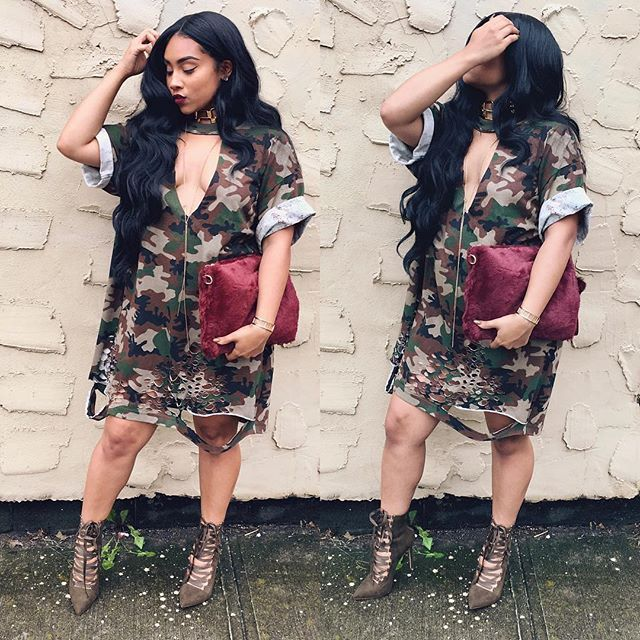 #outfit #camo #dress #sick #nayavista #clutch #flyjane #shoes #hair #lipcolor #pose #slay | Tap for Details |