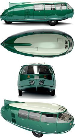 Dymaxion, Designed by Bucky Fuller. Built in 1933, powered by a V8 Ford engine. Highest documented speed 90 mph, 30 mpg, 11 passengers.