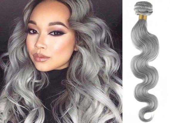 3bundles ash grey human hair bundles brazilian hair wefts gray hair weaving grey human hair extensio