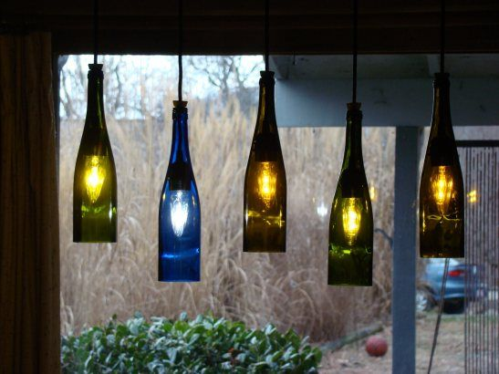 17 best images about bottles glass jars and plastic on for Wine bottle patio lights