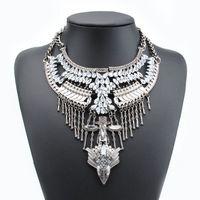 Цыганский стиль кристалл ожерелья и Pendants2015 чешские себе ожерелья старинные золотые / серебряные ворота чокеровщика ожерелье для женщин