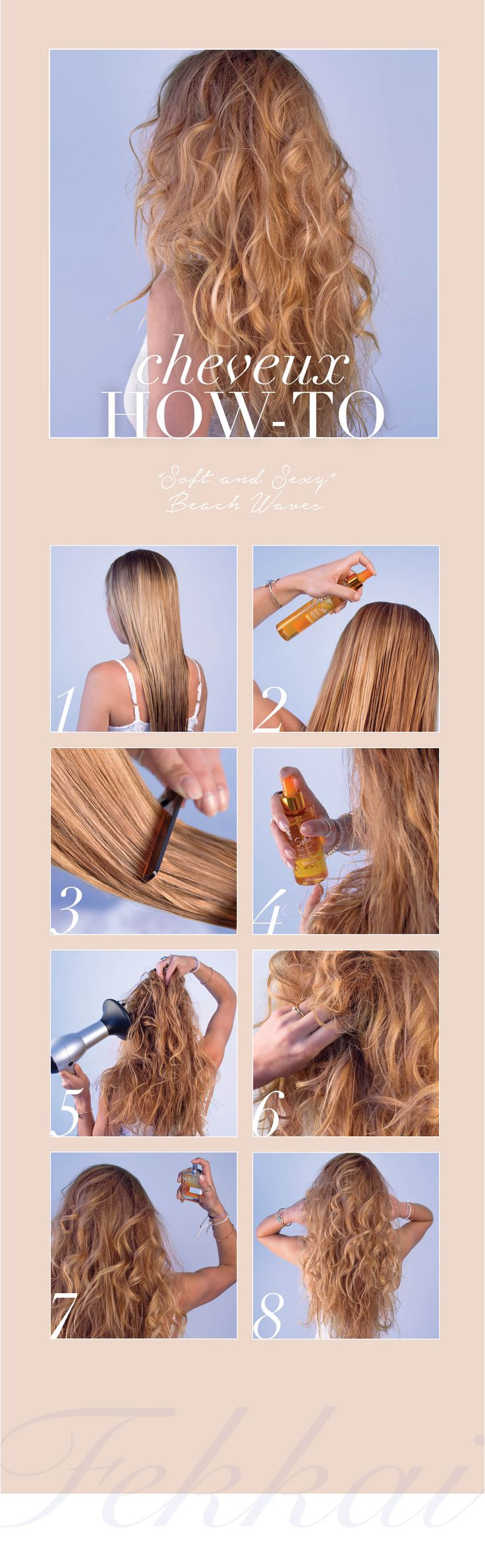The Perfect Summer Beach Waves Hair How-to: 1. Start with clean, damp hair 2. Spray Pre-Soleil Hair Mist throughout hair for SPF protection 3. Comb through 4. Spray Fekkai Beach Waves Tousling Spray onto hair, while scrunching hair from the bottom up.  5. Use a diffuser or let hair air dry 6. Tousle and shape waves as needed 7. Finish off look with Fekkai L'air de St. Barths Hair Fragrance. 8. Voila! The perfect Femme Fekkai beachy waves