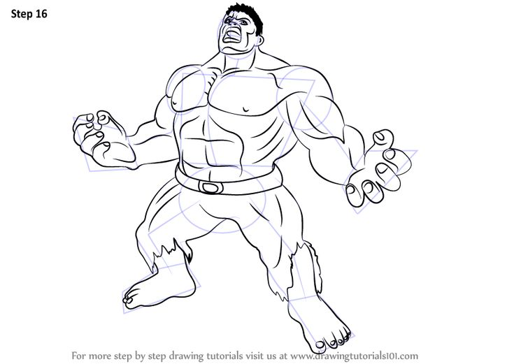 Step by Step How to Draw Angry Hulk DrawingTutorials101.com