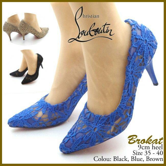 Sepatu Christian Louboutin Brukat Heels 4812 Blue 36,39,40 210rb