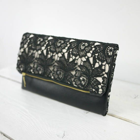Elegant Black Lace Clutch Black Evening Bag Wedding Clutch