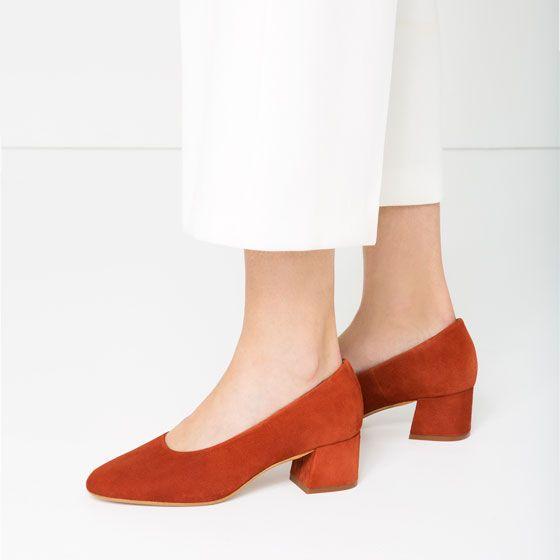 Image 1 of SUEDE BALLERINAS WITH HEEL from Zara