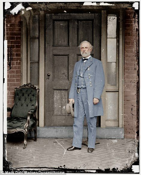 Modern digitally remastered picture of Confederate General Robert E. Lee - he resigned his commission from the U.S. Army just after his home state of Virginia seceded from the Union. Ironically, Lincoln had summoned him to Blair House the previous day to offer him command of the entire Union army.