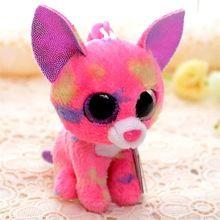 Envío Gratis 3 ' ' TY juguete de felpa para niños Rosa Chihuahua TY Beanie Babies Doll Juguetes Niñas Llavero muñeca de la felpa(China (Mainland))