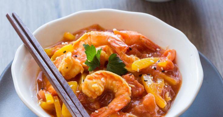 Recette - Crevettes sauce aigre douce au ketchup et à la mangue   750g