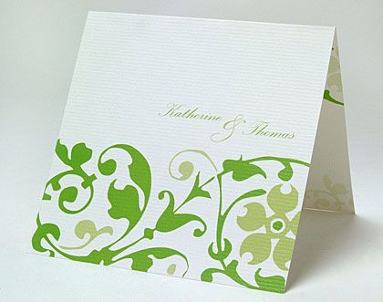 Green wedding invitations printed with a vine pattern Ideal for a country wedding.