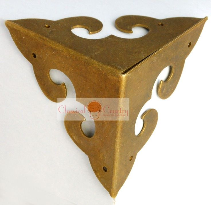 4 Corners Chinese Furniture Hardware Brass for Cabinet Trunk Jewelry Box Chest #iland