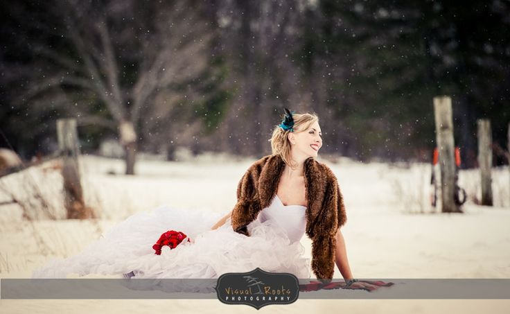 Winter wedding trash the dress