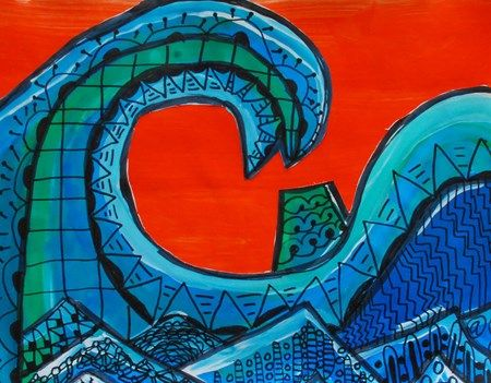 Hokusai Great Wave Mt. Fuji art lesson project elementary line pattern