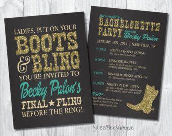 Country Western Bachelorette Party Invitation, Boots & Bling Bachelorette Invite, Saloon/Cowgirl Bachelorette Invite, Printable digital file