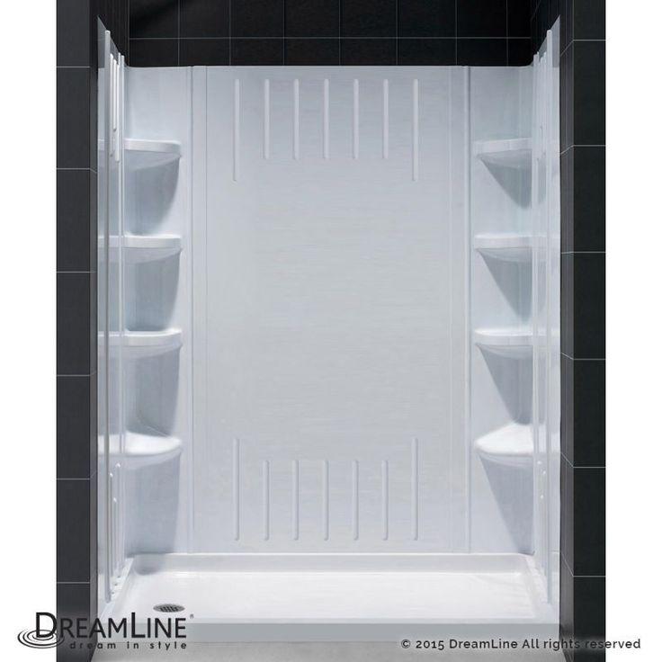 "Dreamline DL-6145 SlimLine Shower Installation Package with 75-5/8"" High x 60"" W White / Left Drain Showers Shower Modules 4 Piece"