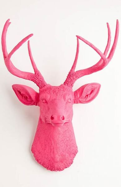 The Alejandra   Stag Deer Head   Faux Taxidermy   Pink Resin
