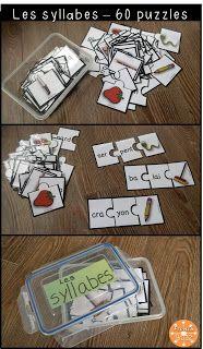 Jeu de puzzles (casse-tête) pour s'amuser avec les syllabes dans les centres de littératie.