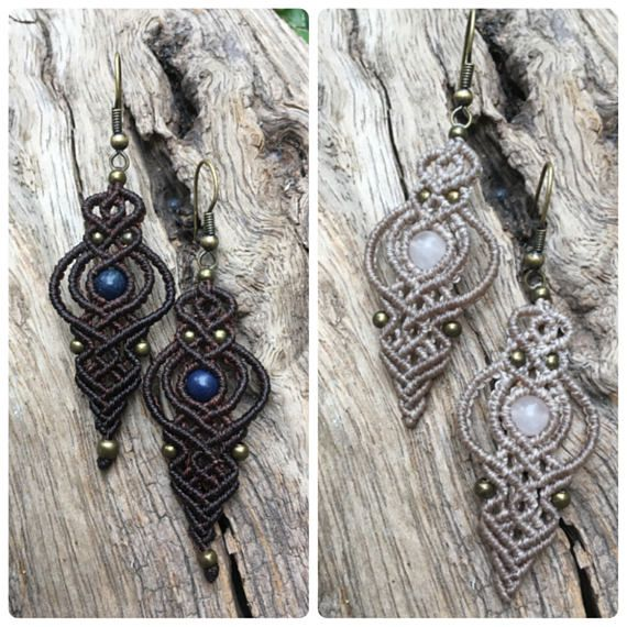 Micro macrame earrings lapis lazuri macrame earringsrose