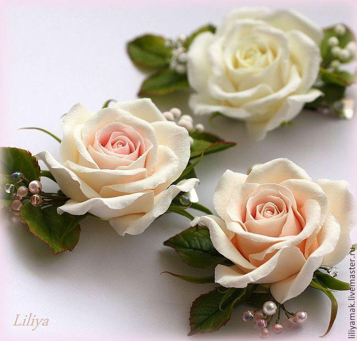 Купить Роза чайная, роза белая (зажим для волос) - бежевый, чайная роза, заколка с розой