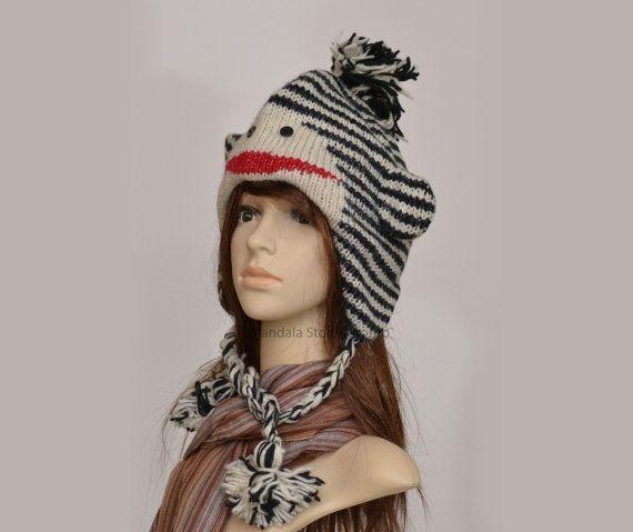Black and white striped monkey animal hat   warm by HatsMittensEtc