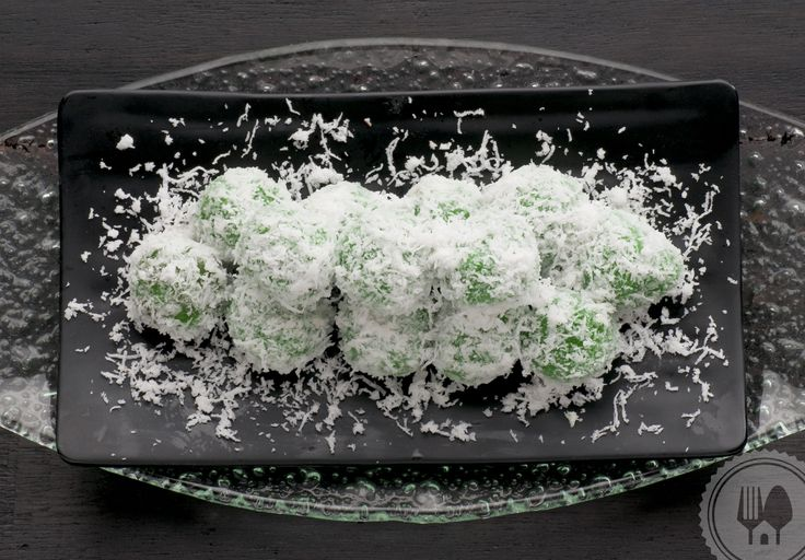 KLEPON. The green color in klepon is made of suji and pandan leaves